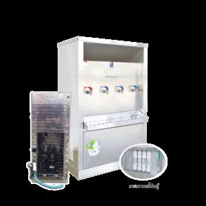 ตู้ทำน้ำร้อน น้ำเย็น 4 ก๊อก ระบบกรองน้ำในตัว ระบายความร้อนด้วยแผงร้อน รุ่น XCH-4PFW